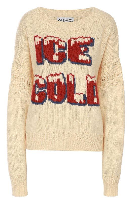 Пуловер с удлиненным рукавом и контрастной надписью Wildfox