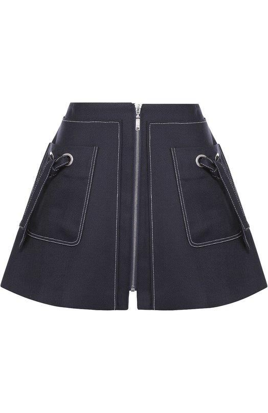 Мини-юбка на молнии с накладными карманами Kenzo F661JU0225H0