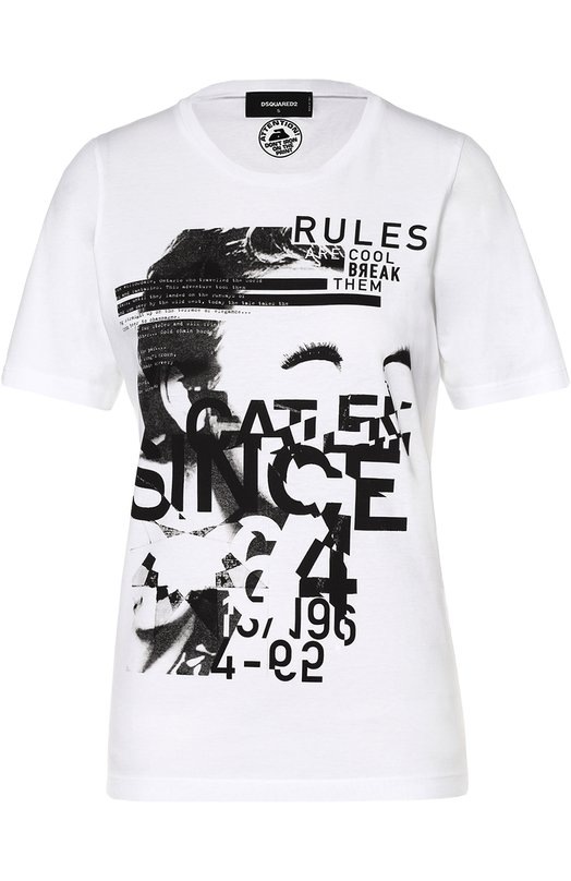 Хлопковая футболка с контрастным принтом Dsquared2 S75GC0816/S22427