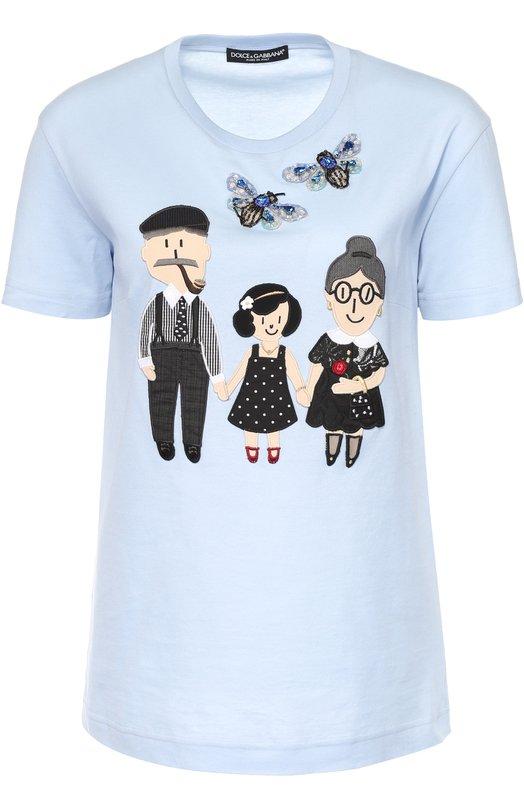 Хлопковая футболка с контрастной отделкой Dolce &amp; GabbanaФутболки<br><br><br>Российский размер RU: 44<br>Пол: Женский<br>Возраст: Взрослый<br>Размер производителя vendor: 42<br>Материал: Хлопок: 95%; Шелк: 5%; Отделка-хлопок: 100%;<br>Цвет: Голубой