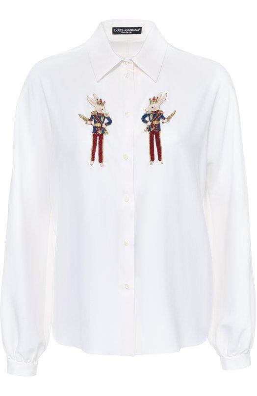 Шелковая блуза прямого кроя с контрастной вышивкой Dolce &amp; GabbanaБлузы<br><br><br>Российский размер RU: 46<br>Пол: Женский<br>Возраст: Взрослый<br>Размер производителя vendor: 44<br>Материал: Шелк: 94%; Эластан: 6%; Отделка-полиэстер: 40%; Отделка-стекло: 40%; Отделка-латунь: 10%; Отделка-медь: 10%;<br>Цвет: Белый