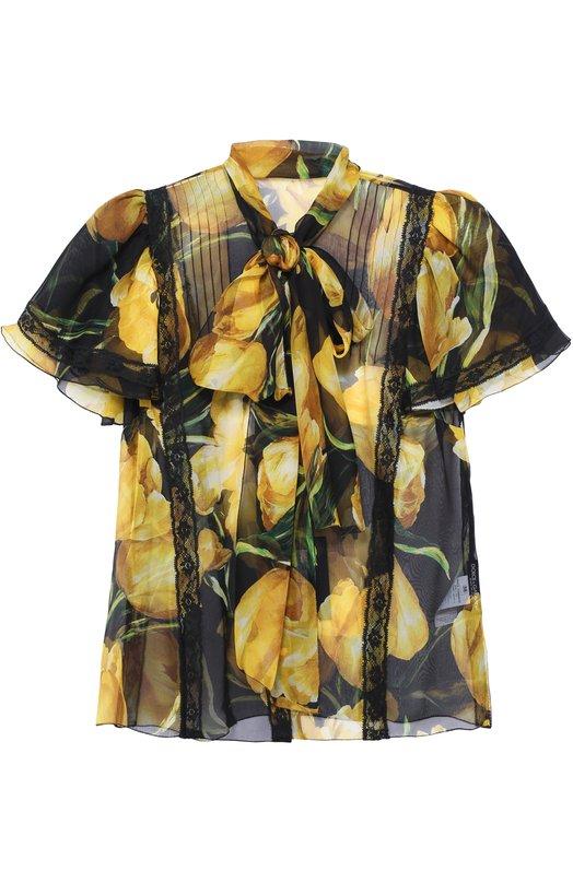 Шелковая блуза с коротким рукавом и воротником аскот Dolce & Gabbana