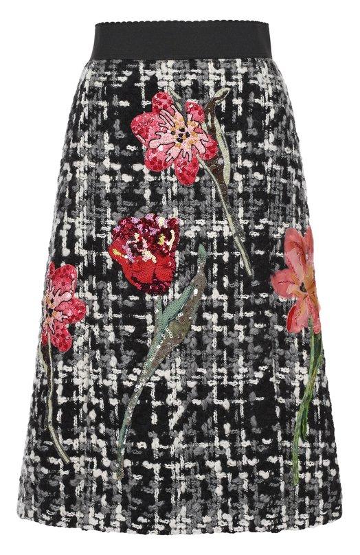 Буклированная юбка-миди с цветочной отделкой Dolce & Gabbana 0102/F4APJZ/FMME1