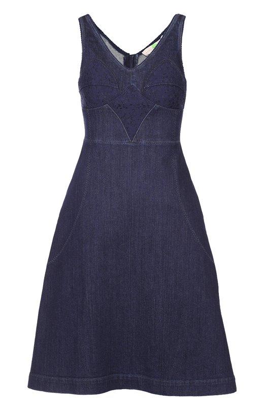 Приталенное джинсовое платье с кружевной отделкой Stella McCartney 429448/SHH16