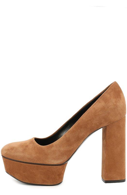 Замшевые туфли на высоком каблуке и платформе Casadei 1F184