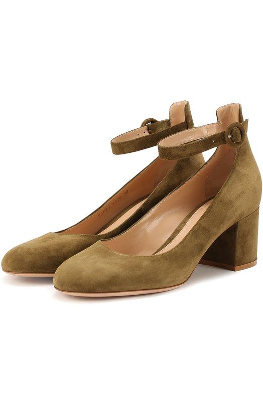 Купить Замшевые туфли Greta с ремешком на щиколотке Gianvito Rossi Италия 5118717 G20623.60RIC.CAM