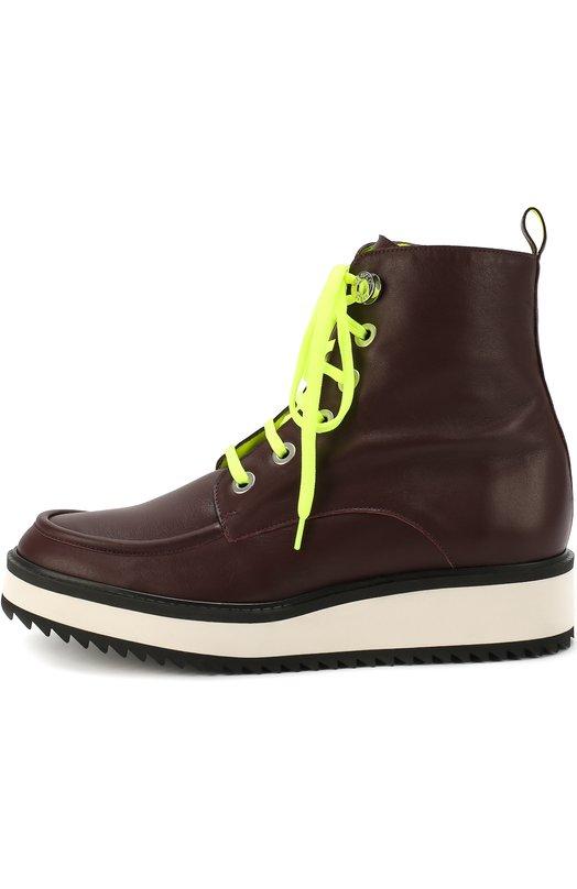Кожаные ботинки с контрастной шнуровкой Kenzo F661BT215L86
