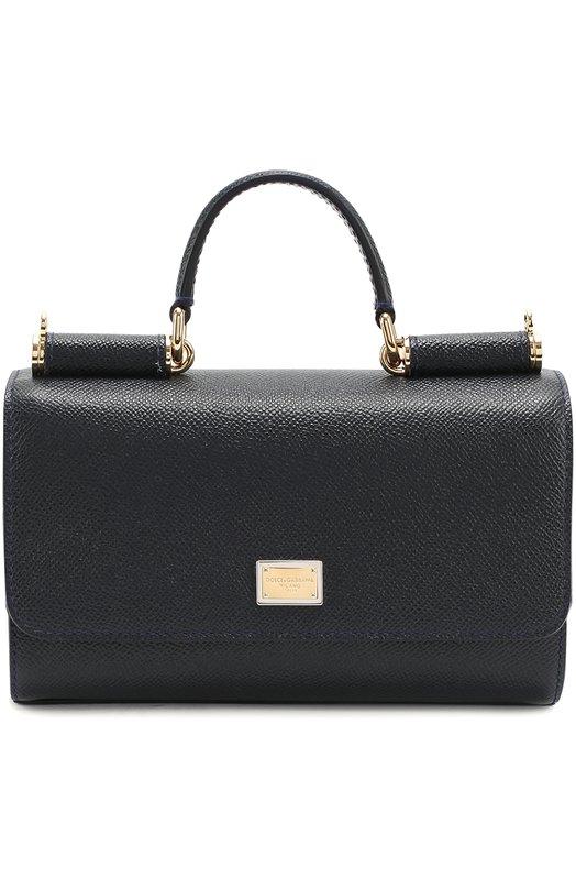 Купить Сумка Sicily mini из тисненой кожи Dolce & Gabbana, 0116/BB5935/A1001, Италия, Синий, Кожа натуральная: 100%;
