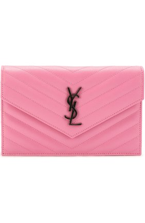 Сумка Monogram Envelope из стеганой кожи Saint Laurent розового цвета | Фото №1