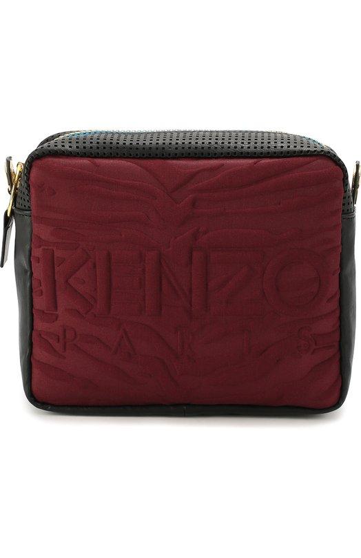 Сумка Kombo с перфорацией и текстильной отделкой KenzoЖенские сумки<br><br><br>Пол: Женский<br>Возраст: Взрослый<br>Размер производителя vendor: NS<br>Материал: Полиэстер: 63%; Эластан: 4%; Вискоза: 33%; Кожа натуральная: 100%;<br>Цвет: Бордовый