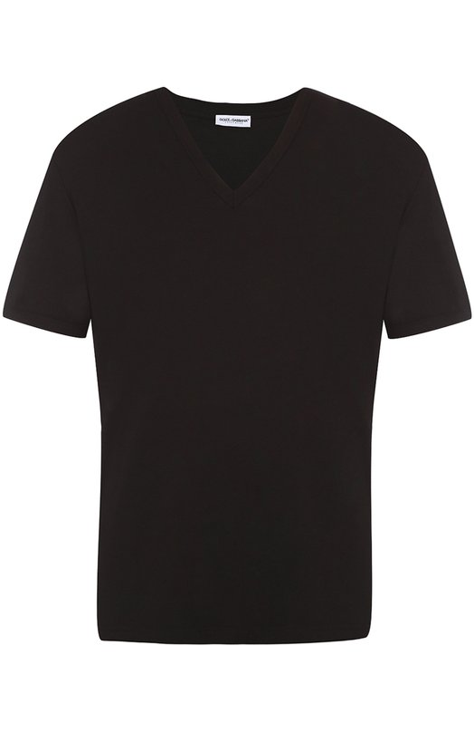 Хлопковая футболка с V-образным вырезом Dolce & Gabbana 0121/N8A64J/FUGHG