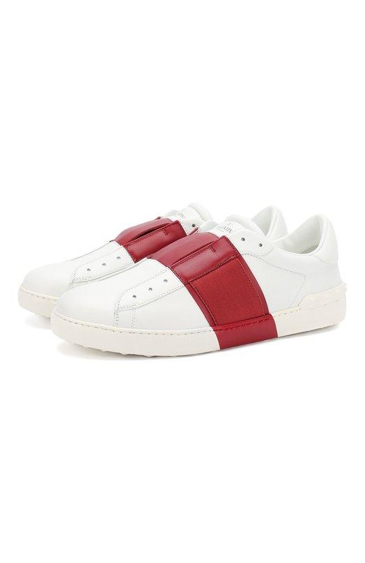 Кожаные кеды Open с контрастной вставкой ValentinoКеды<br><br><br>Российский размер RU: 42<br>Пол: Мужской<br>Возраст: Взрослый<br>Размер производителя vendor: 42-5<br>Материал: Кожа натуральная: 100%; Стелька-кожа: 100%; Подошва-резина: 100%;<br>Цвет: Красный