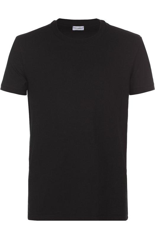 Хлопковая футболка с круглым вырезом Dolce &amp; GabbanaФутболки<br><br><br>Российский размер RU: 52<br>Пол: Мужской<br>Возраст: Взрослый<br>Размер производителя vendor: 6<br>Материал: Хлопок: 92%; Эластан: 8%;<br>Цвет: Черный