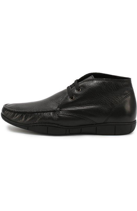 Кожаные ботинки на шнуровке A. TestoniБотинки<br><br><br>Российский размер RU: 46<br>Пол: Мужской<br>Возраст: Взрослый<br>Размер производителя vendor: 12<br>Материал: Кожа натуральная: 100%; Стелька-кожа: 100%; Подошва-резина: 100%;<br>Цвет: Черный