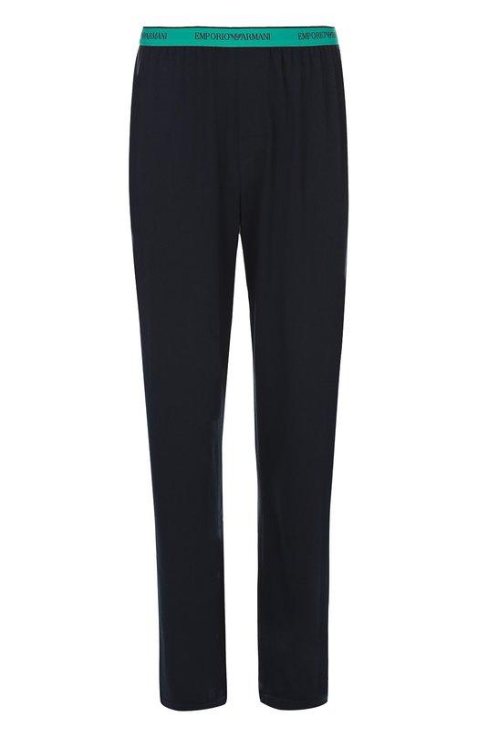 Хлопковые брюки на широкой резинке Emporio ArmaniДомашние брюки<br><br><br>Российский размер RU: 50<br>Пол: Мужской<br>Возраст: Взрослый<br>Размер производителя vendor: L<br>Материал: Хлопок: 95%; Эластан: 5%;<br>Цвет: Темно-синий
