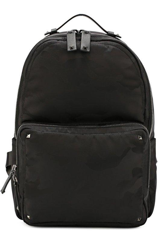 Рюкзак с камуфляжным принтом и отделкой из натуральной кожи Valentino LY0B0550/NBV