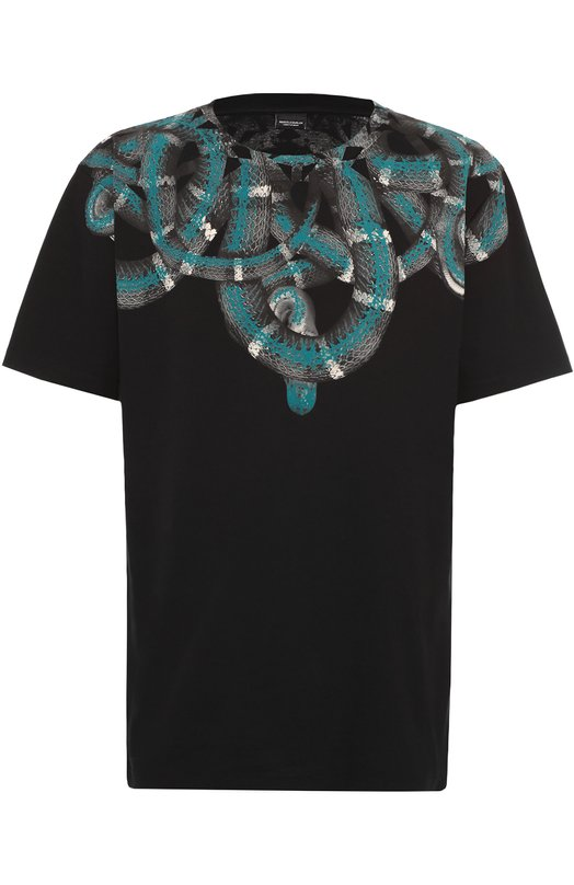 Хлопковая футболка с принтом Marcelo BurlonФутболки<br><br><br>Российский размер RU: 54<br>Пол: Мужской<br>Возраст: Взрослый<br>Размер производителя vendor: XXL<br>Материал: Хлопок: 100%;<br>Цвет: Черный