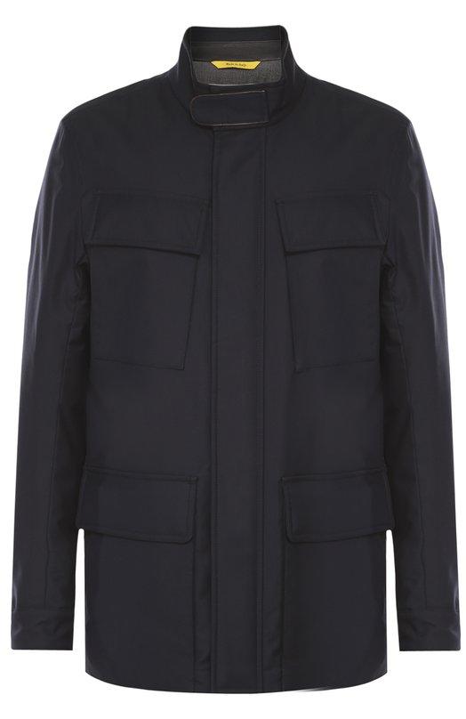 Утепленная куртка из смеси шерсти и шелка с отделкой из натуральной кожи CanaliКуртки<br><br><br>Российский размер RU: 54<br>Пол: Мужской<br>Возраст: Взрослый<br>Размер производителя vendor: 52<br>Материал: Шелк: 6%; Шерсть: 53%; Полиамид: 41%; Отделка кожа натуральная: 100%; Подкладка-купра: 100%;<br>Цвет: Темно-синий