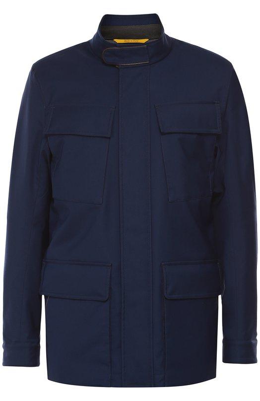 Утепленная куртка из смеси шерсти и шелка с отделкой из натуральной кожи CanaliКуртки<br><br><br>Российский размер RU: 58<br>Пол: Мужской<br>Возраст: Взрослый<br>Размер производителя vendor: 56<br>Материал: Шелк: 6%; Шерсть: 53%; Полиамид: 41%; Отделка кожа натуральная: 100%; Подкладка-купра: 100%;<br>Цвет: Синий
