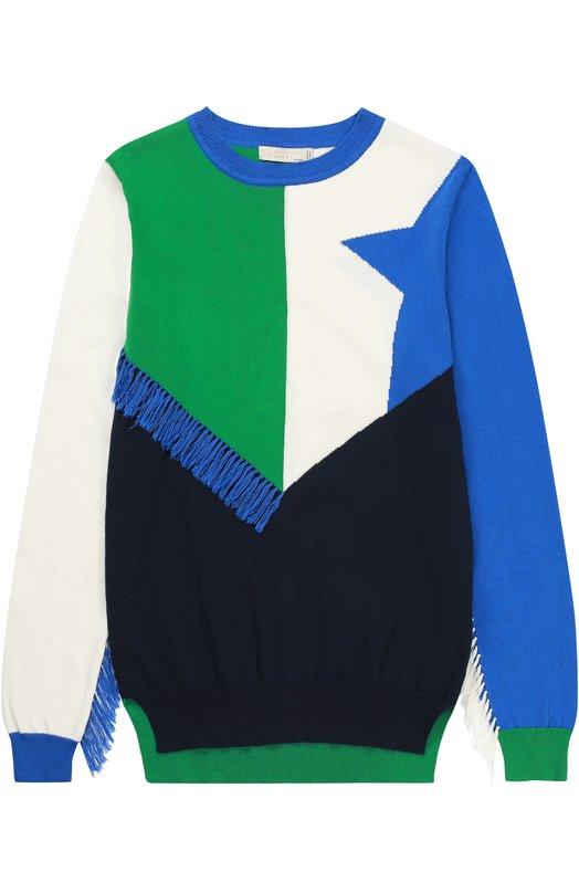 Пуловер джерси с принтом и бахромой Stella McCartneyСвитеры<br><br><br>Размер Years: 6<br>Пол: Женский<br>Возраст: Детский<br>Размер производителя vendor: 116-122cm<br>Материал: Хлопок: 95%; Кашемир: 5%;<br>Цвет: Синий