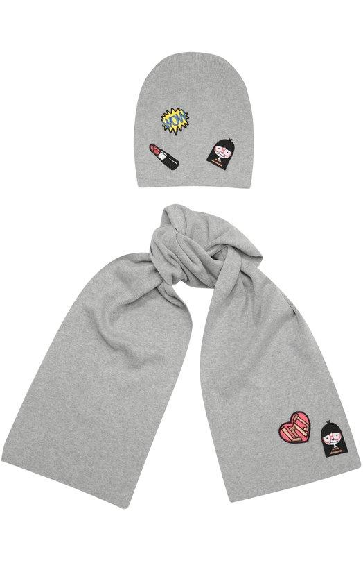 Комплект из шарфа и шапки с нашивками Marc JacobsГоловные уборы<br><br><br>Российский размер RU: 54<br>Пол: Женский<br>Возраст: Детский<br>Размер производителя vendor: 54<br>Материал: Хлопок: 60%; Вискоза: 40%;<br>Цвет: Серый