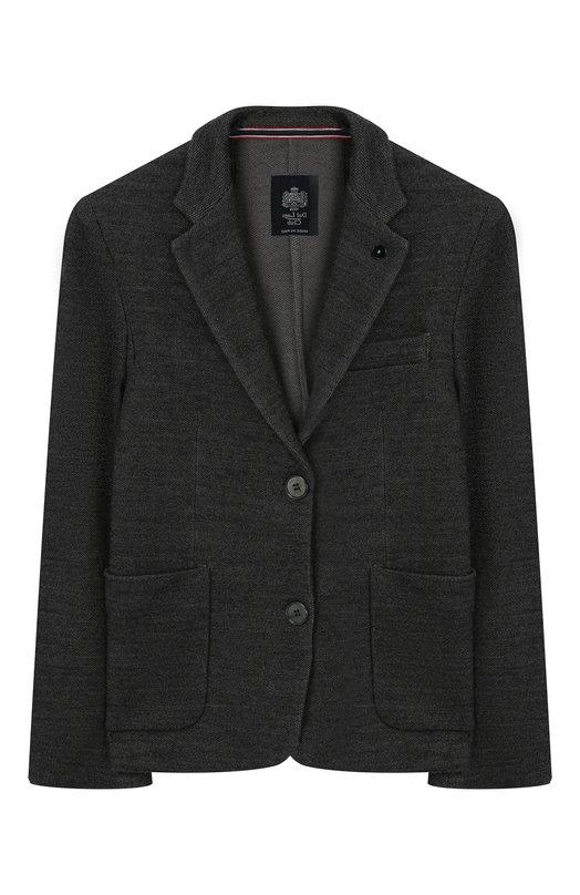 Шерстяной однобортный пиджак Dal LagoПиджаки<br><br><br>Размер Years: 10<br>Пол: Мужской<br>Возраст: Детский<br>Размер производителя vendor: 140-146cm<br>Материал: Шерсть: 100%;<br>Цвет: Серый