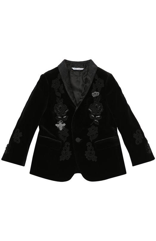 Бархатный пиджак с вышивкой Dolce & Gabbana 0131/L4RJ25/FUWBN/2-6