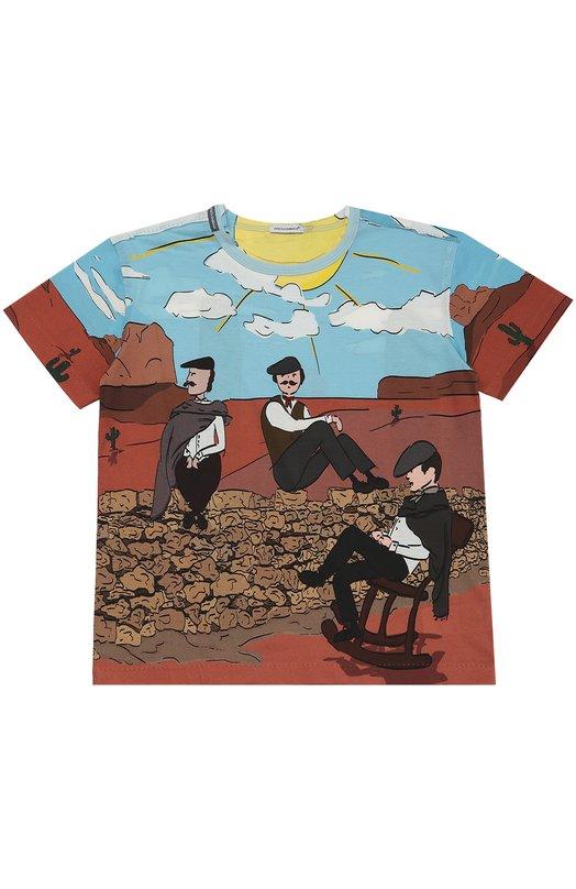 Хлопковая футболка с принтом Dolce &amp; GabbanaФутболки<br><br><br>Размер Years: 10<br>Пол: Мужской<br>Возраст: Детский<br>Размер производителя vendor: 140-146cm<br>Материал: Хлопок: 100%;<br>Цвет: Разноцветный