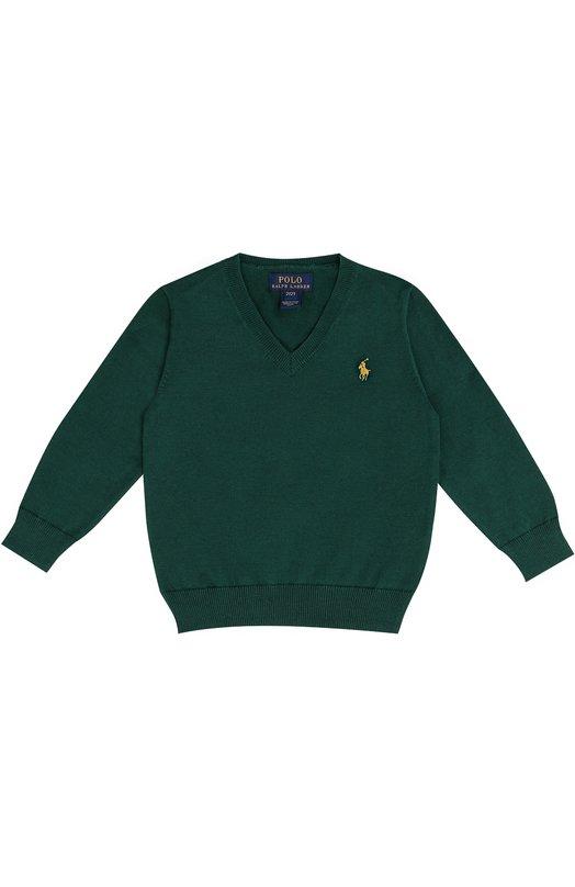 Хлопковый пуловер с логотипом бренда Polo Ralph LaurenСвитеры<br><br><br>Размер Years: 3<br>Пол: Мужской<br>Возраст: Детский<br>Размер производителя vendor: 98-104cm<br>Материал: Хлопок: 100%;<br>Цвет: Зеленый