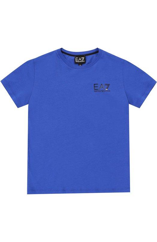 Хлопковая футболка с круглым вырезом Ea 7Футболки<br><br><br>Размер Years: 4<br>Пол: Мужской<br>Возраст: Детский<br>Размер производителя vendor: 104-110cm<br>Материал: Хлопок: 100%;<br>Цвет: Синий