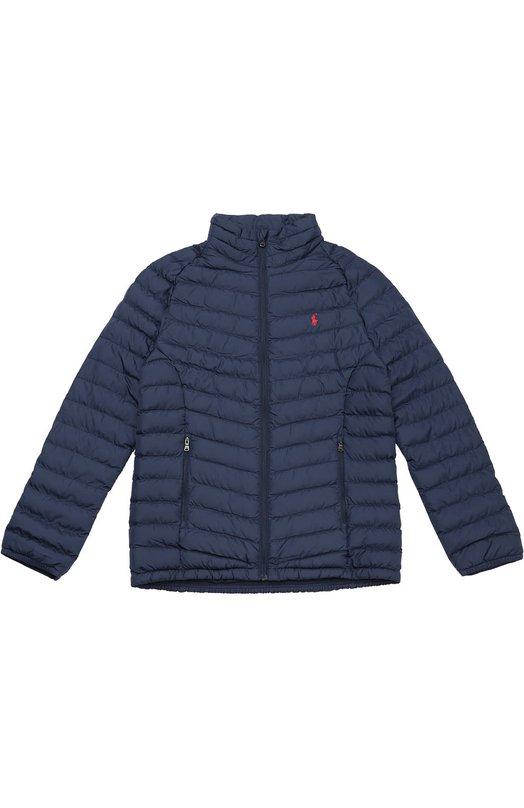 Утепленная стеганая куртка на молнии Polo Ralph LaurenВерхняя одежда<br><br><br>Размер Years: 8<br>Пол: Мужской<br>Возраст: Детский<br>Размер производителя vendor: 128-134cm<br>Материал: Полиэстер: 100%; Подкладка-полиамид: 100%;<br>Цвет: Синий