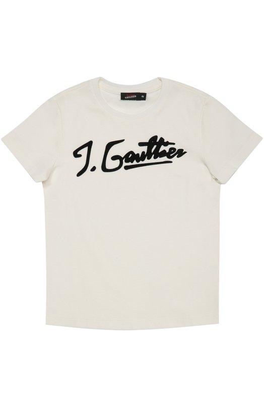 Хлопковая футболка с аппликацией Jean Paul Gaultier 5I10504/4-6A