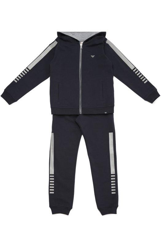 Хлопковый спортивный костюм с контрастной отделкой Giorgio ArmaniСпорт<br><br><br>Размер Years: 10<br>Пол: Мужской<br>Возраст: Детский<br>Размер производителя vendor: 140-146cm<br>Материал: Хлопок: 95%; Эластан: 5%; Подкладка-хлопок: 100%;<br>Цвет: Темно-синий