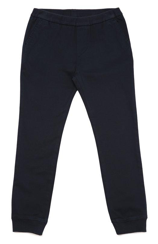 Хлопковые брюки с манжетами Giorgio ArmaniБрюки<br><br><br>Размер Years: 11<br>Пол: Мужской<br>Возраст: Детский<br>Размер производителя vendor: 146cm<br>Материал: Хлопок: 98%; Эластан: 2%;<br>Цвет: Синий