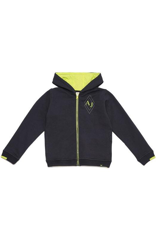 Хлопковая толстовка на молнии с капюшоном Giorgio ArmaniКардиганы<br><br><br>Размер Years: 4<br>Пол: Мужской<br>Возраст: Детский<br>Размер производителя vendor: 104-110cm<br>Материал: Хлопок: 95%; Эластан: 5%;<br>Цвет: Темно-синий