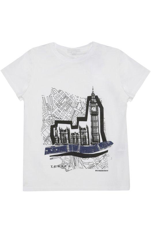 Хлопковая футболка с принтом Burberry 4027284