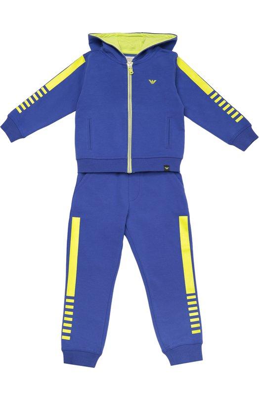 Хлопковый спортивный костюм с контрастной отделкой Giorgio ArmaniСпорт<br><br><br>Размер Years: 4<br>Пол: Мужской<br>Возраст: Детский<br>Размер производителя vendor: 104-110cm<br>Материал: Хлопок: 95%; Эластан: 5%; Подкладка-хлопок: 100%;<br>Цвет: Синий