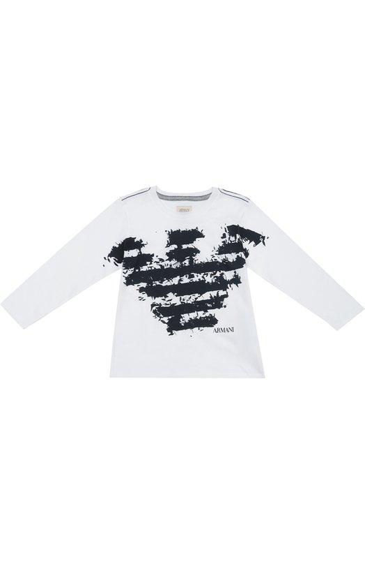 Хлопковый лонгслив с принтом Giorgio ArmaniФутболки<br><br><br>Размер Years: 7<br>Пол: Мужской<br>Возраст: Детский<br>Размер производителя vendor: 122-128cm<br>Материал: Хлопок: 100%;<br>Цвет: Белый