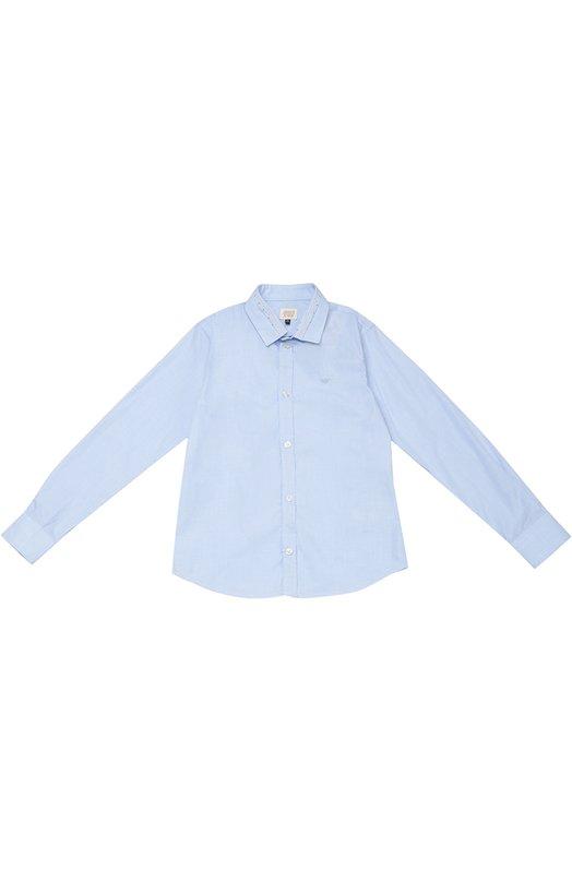 Хлопковая рубашка с воротником акула Giorgio Armani 6X4C07/4N09Z/11A-16A