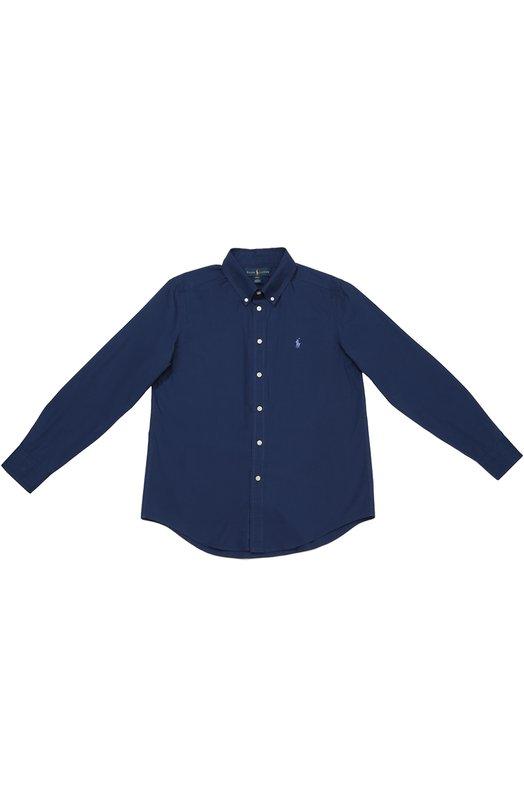 Хлопковая рубашка с воротником button down Polo Ralph LaurenРубашки<br><br><br>Размер Years: 12<br>Пол: Мужской<br>Возраст: Детский<br>Размер производителя vendor: 146-160cm<br>Материал: Хлопок: 100%;<br>Цвет: Синий