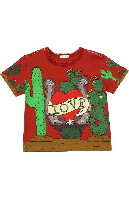 Хлопковая футболка с принтом Dolce & Gabbana 0131/L4JT3W/G7IZK/8-12