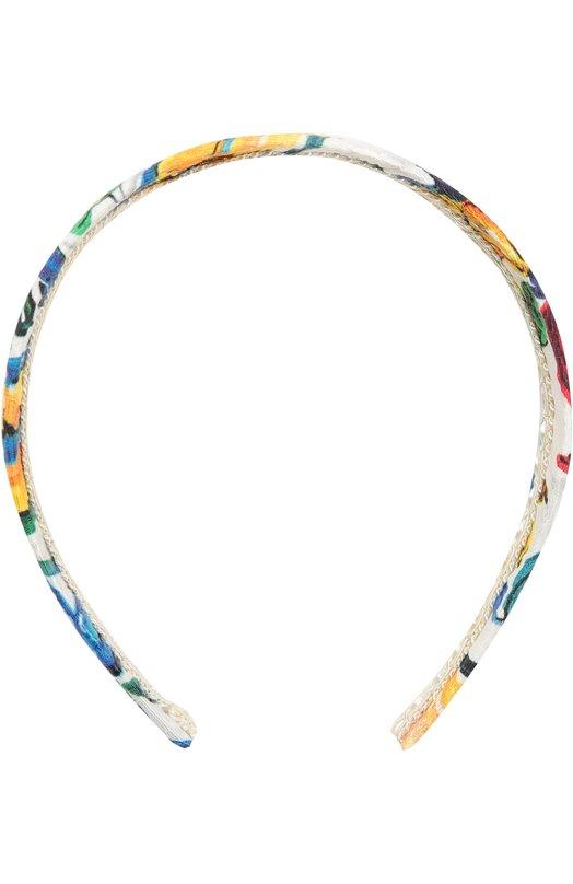 Ободок с принтом Majolica Dolce &amp; GabbanaДля волос<br><br><br>Пол: Женский<br>Возраст: Детский<br>Размер производителя vendor: NS<br>Материал: Хлопок: 66%; Шелк: 24%; Вискоза: 10%;<br>Цвет: Разноцветный