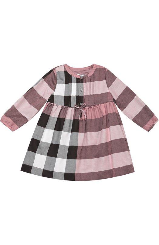 Платье из хлопка в клетку BurberryОдежда<br><br><br>Размер Months: 36<br>Пол: Женский<br>Возраст: Для малышей<br>Размер производителя vendor: 98-104cm<br>Материал: Хлопок: 100%; Подкладка-хлопок: 100%;<br>Цвет: Розовый
