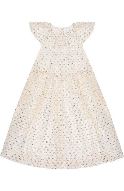 Платье с декором из металлизированного волокна BurberryПлатья<br><br><br>Размер Years: 12<br>Пол: Женский<br>Возраст: Детский<br>Размер производителя vendor: 146-152cm<br>Материал: Шелк: 91%; Металлизированное волокно: 9%; Подкладка-шелк: 100%;<br>Цвет: Белый