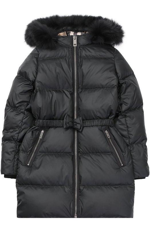 Пуховое пальто с капюшоном Burberry 4027222