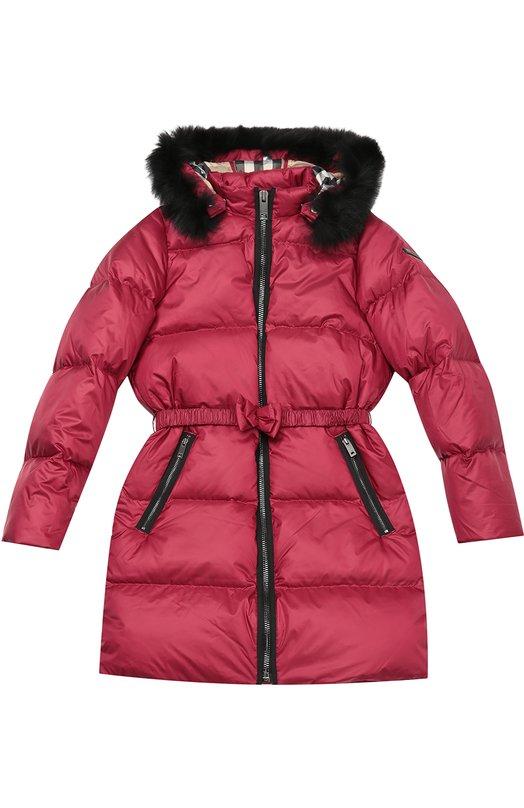 Пуховое пальто с капюшоном Burberry 4030148