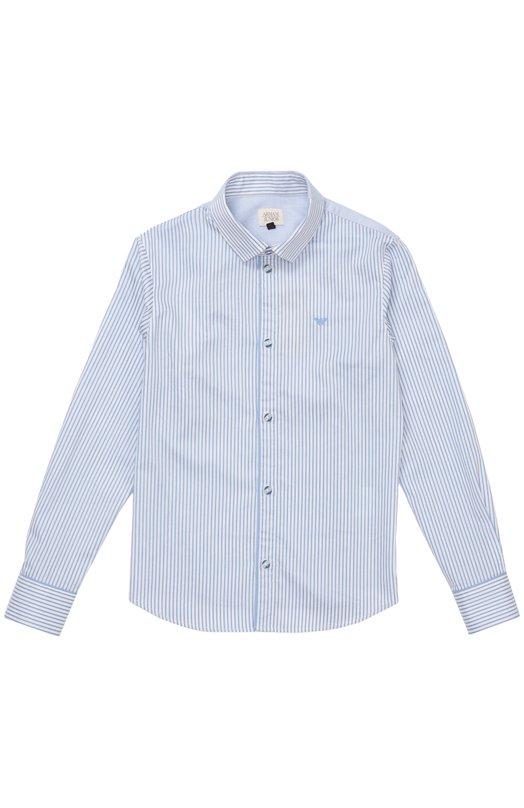 Хлопковая рубашка с воротником кент Giorgio ArmaniРубашки<br><br><br>Размер Years: 4<br>Пол: Мужской<br>Возраст: Детский<br>Размер производителя vendor: 104-110cm<br>Материал: Хлопок: 100%;<br>Цвет: Голубой