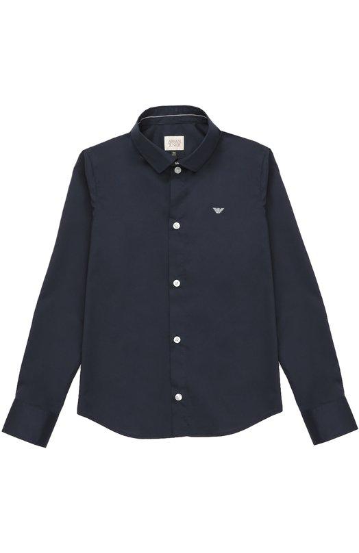 Хлопковая рубашка с воротником кент Giorgio ArmaniРубашки<br><br><br>Размер Years: 10<br>Пол: Мужской<br>Возраст: Детский<br>Размер производителя vendor: 138-148cm<br>Материал: Хлопок: 97%; Эластан: 3%;<br>Цвет: Синий