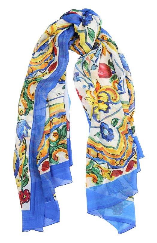 Шелковый шарф с принтом Maiolica Dolce &amp; GabbanaШарфы<br><br><br>Пол: Женский<br>Возраст: Взрослый<br>Размер производителя vendor: NS<br>Материал: Шелк: 100%;<br>Цвет: Синий