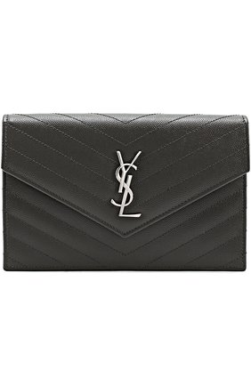 Сумка Monogram Envelope из стеганой кожи Saint Laurent серого цвета | Фото №1